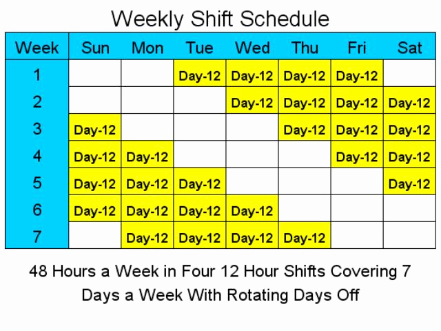 12 Hour Shift Schedule Fresh 12 Hour Schedules for 7 Days A Week 1 4 Download
