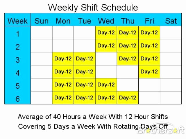 12 Hour Shift Schedule Luxury Download Free 12 Hour Schedules for 5 Days A Week 12 Hour