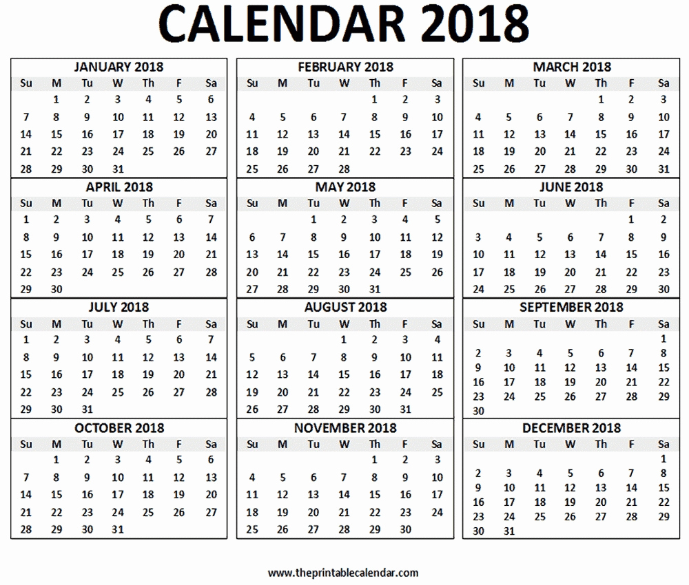 12 Month Calendar Template Awesome 12 Month Printable Calendar 2018 One Page – Template
