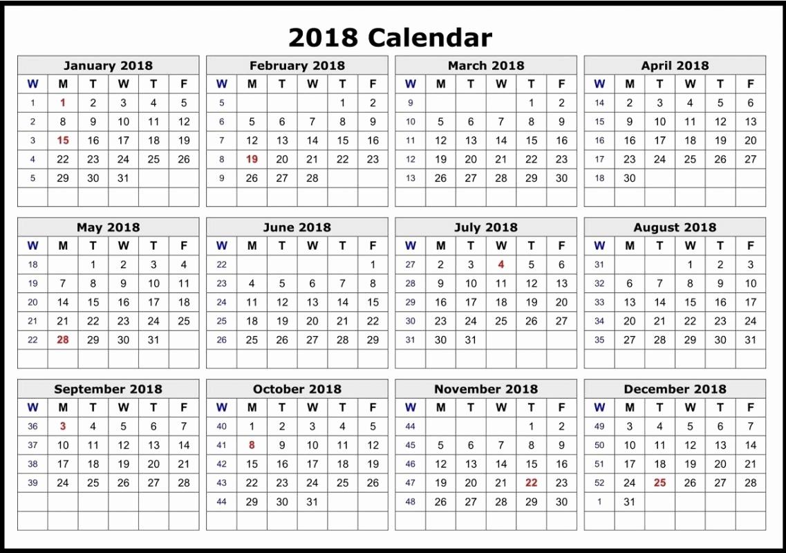 12 Month Calendar Template Awesome 2018 12 Month Calendar Template Excel – Template Calendar