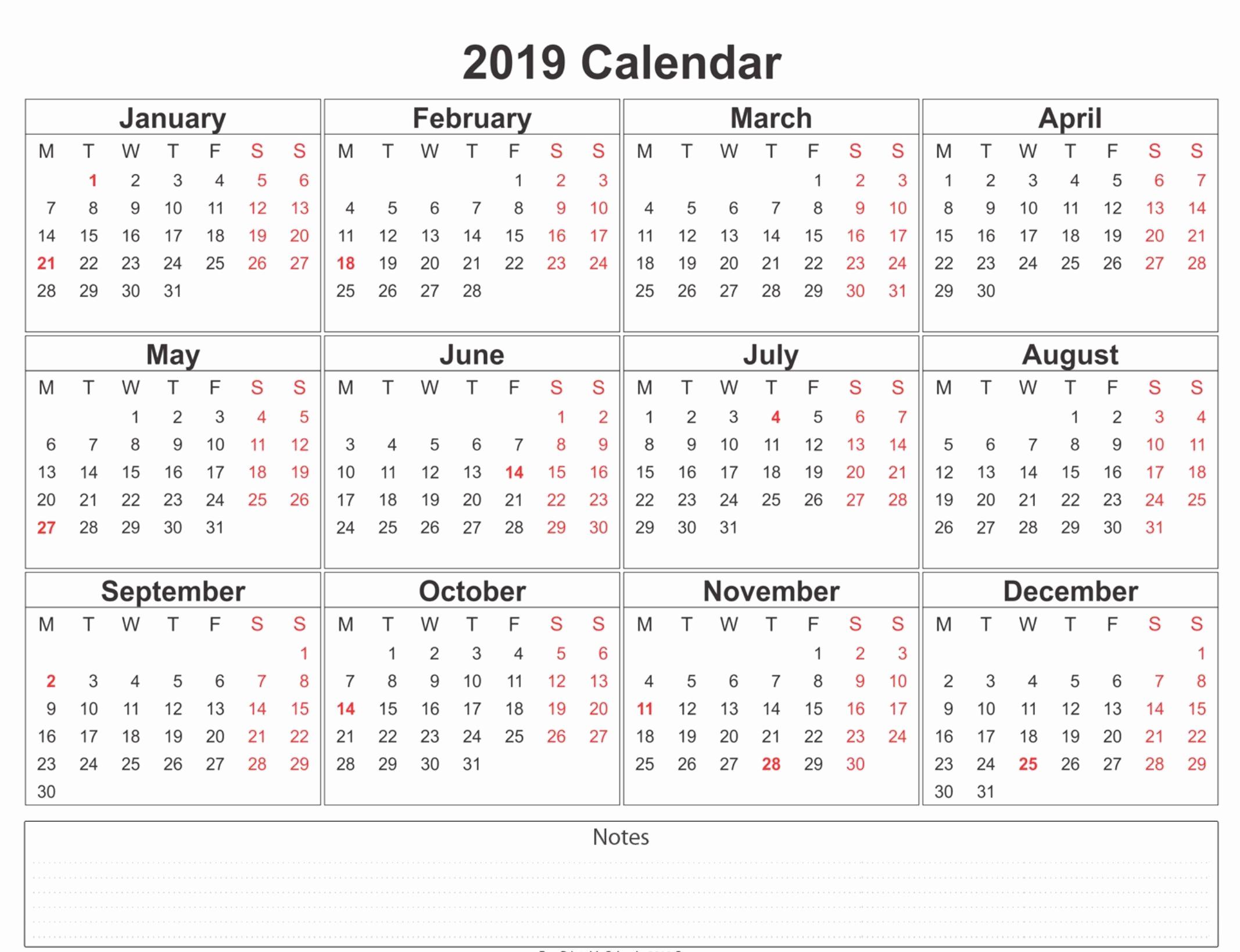 12 Month Calendar Template Best Of 2019 Weekly Calendar Printable 2019 Calendars
