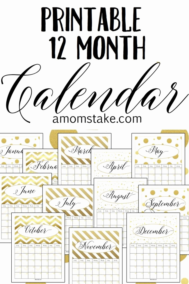 12 Month Calendar Template Best Of We Re Loving the Shimmering Gold In This Printable 12