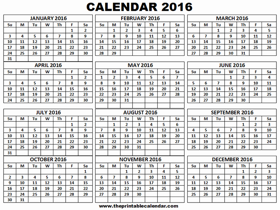 12 Month Calendar Template Fresh Printable 2016 Calendar One Page 12 Month Calendar