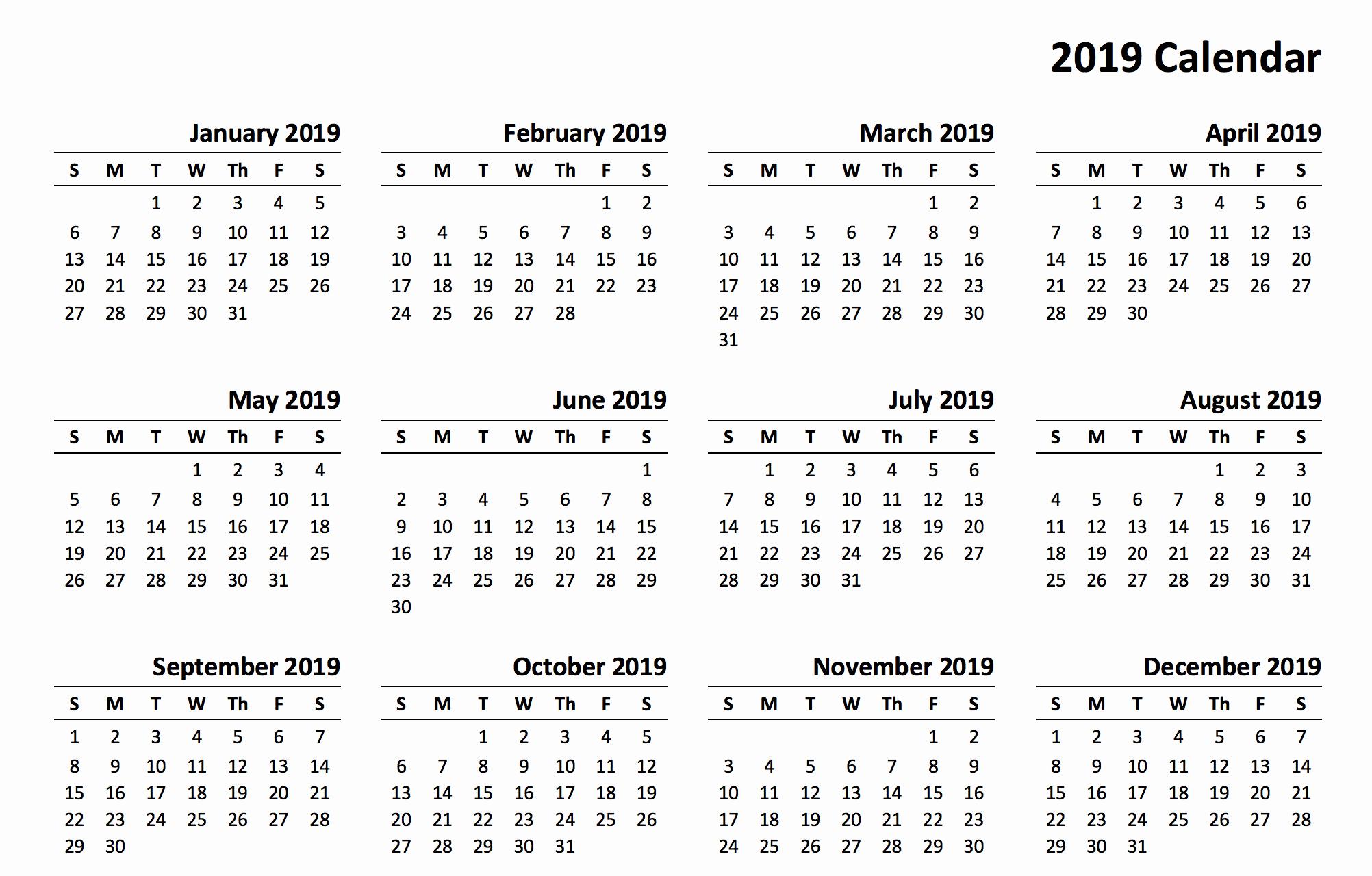 12 Month Calendar Template Inspirational 12 Month Calendar 2019 Printable