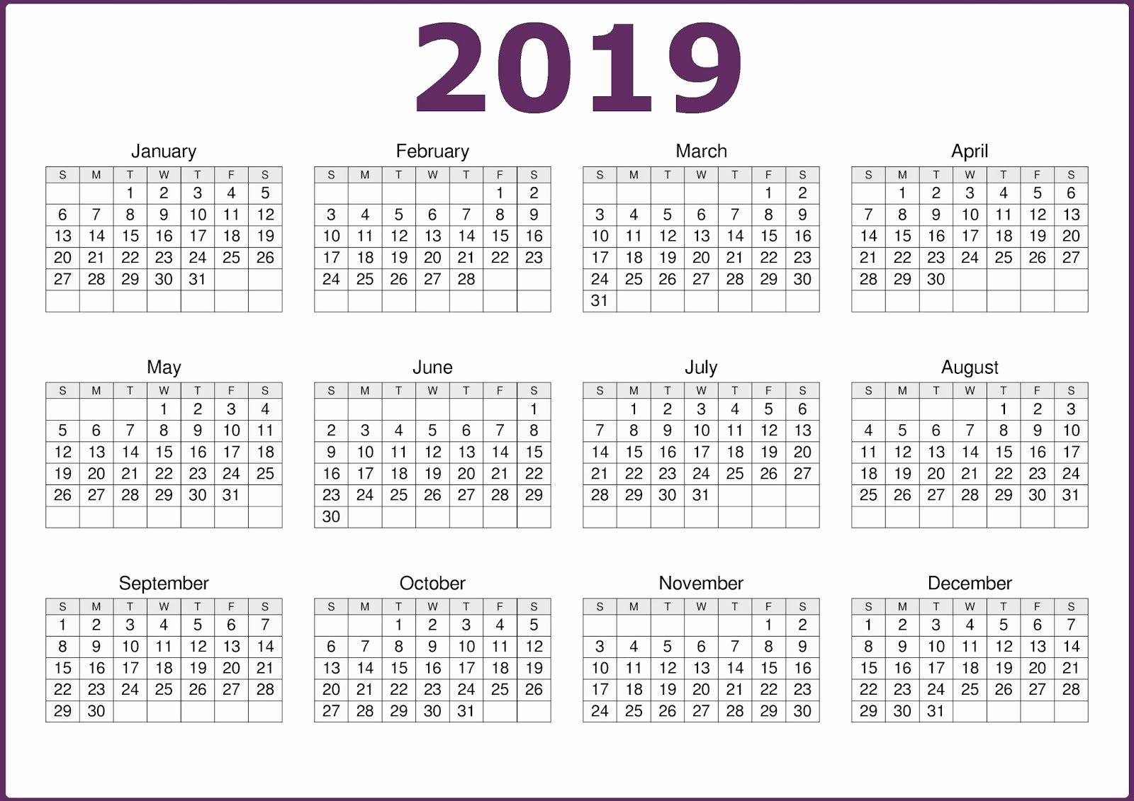 12 Month Calendar Template Inspirational 2019 E Page Printable Calendar Download