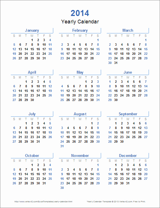 12 Month Calendar Template Inspirational Yearly Calendar Template for 2016 and Beyond