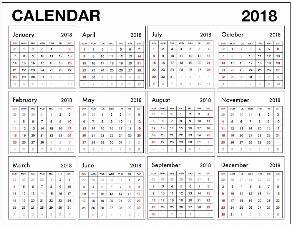 12 Month Calendar Template Lovely 12 Month Calendar 2018 Pdf 2018 Calendars