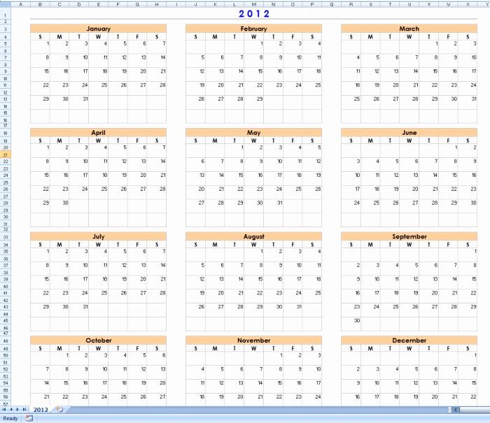 12 Month Calendar Template Lovely 12 Month Calendar Template