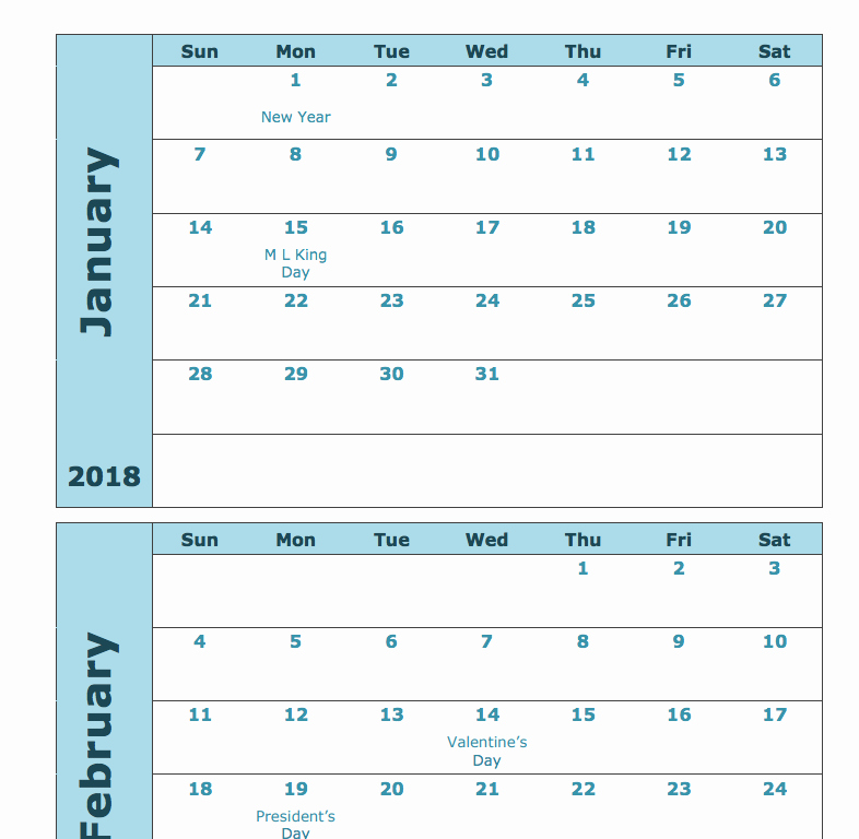 12 Month Calendar Template Lovely 2018 Monthly Calendar Printable 12 Month Templates Web