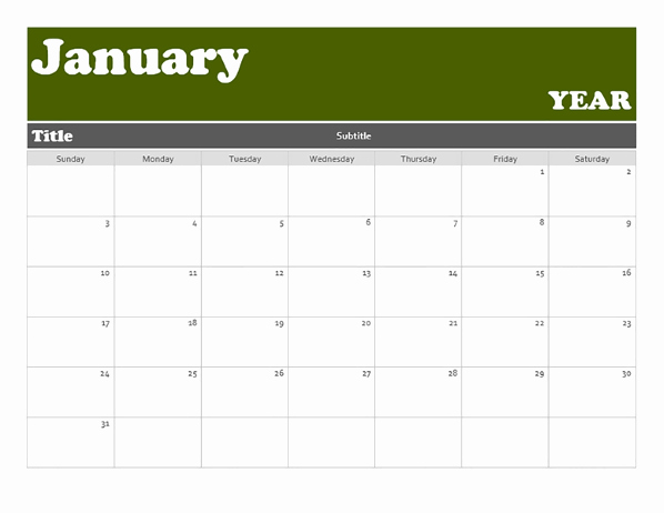 12 Month Calendar Template Luxury 12 Month Basic Calendar Any Year
