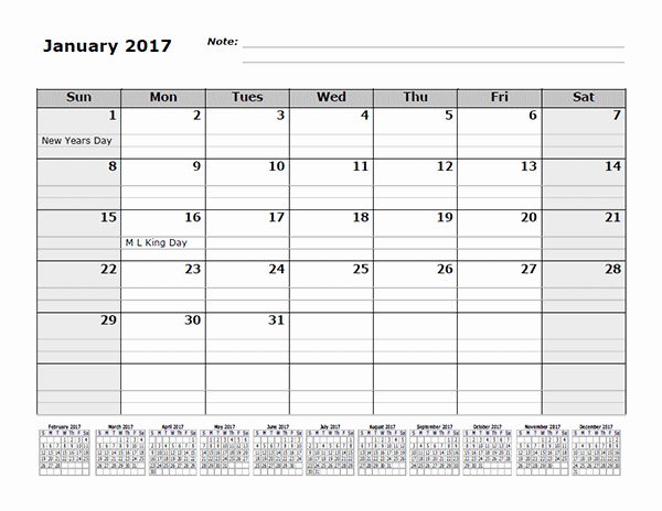 12 Month Calendar Template Luxury 2017 Monthly Calendar Template with 12 Months References