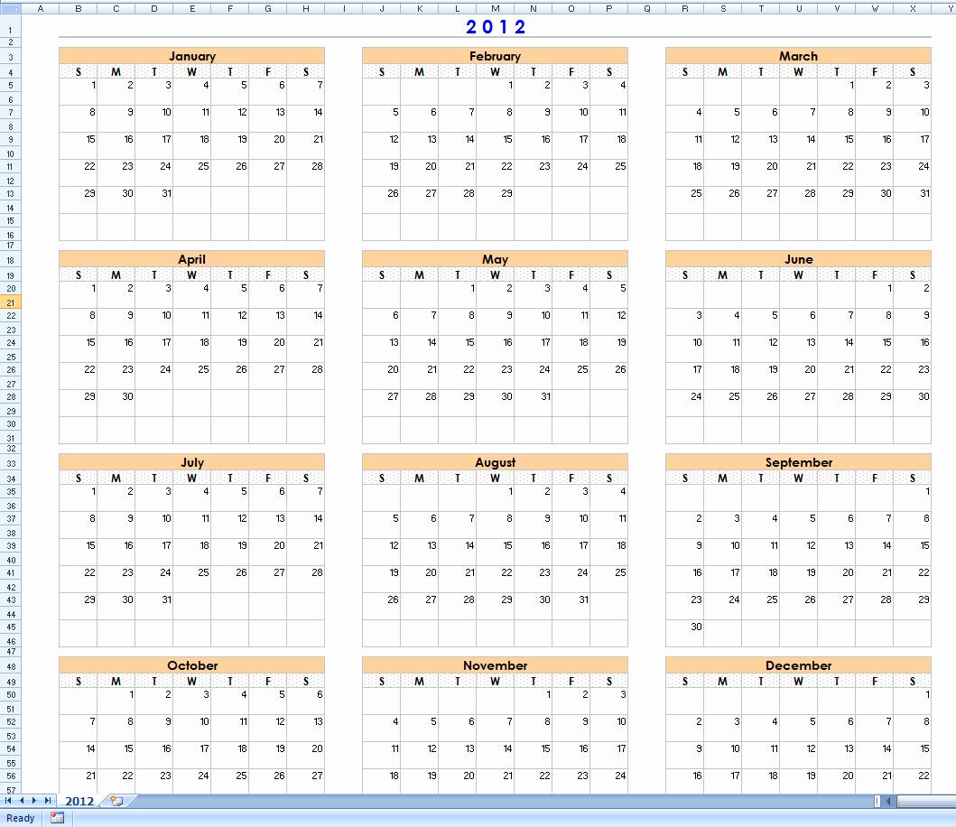 12 Month Calendar Template New 12 Month Calendar Template Word 2012 the Best Free