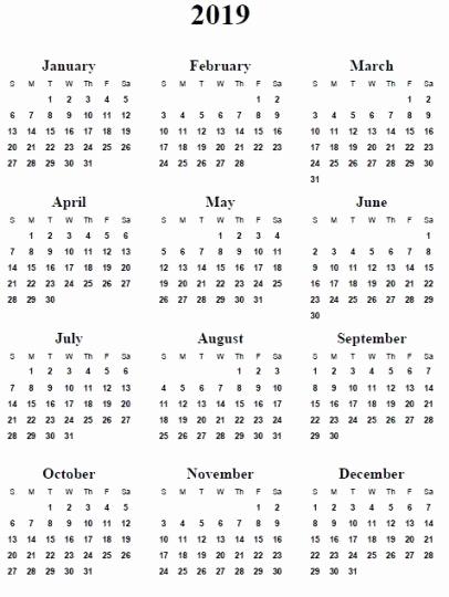 12 Month Calendar Template New 2019 Calendar Word 12 Month Calendar In E Pages