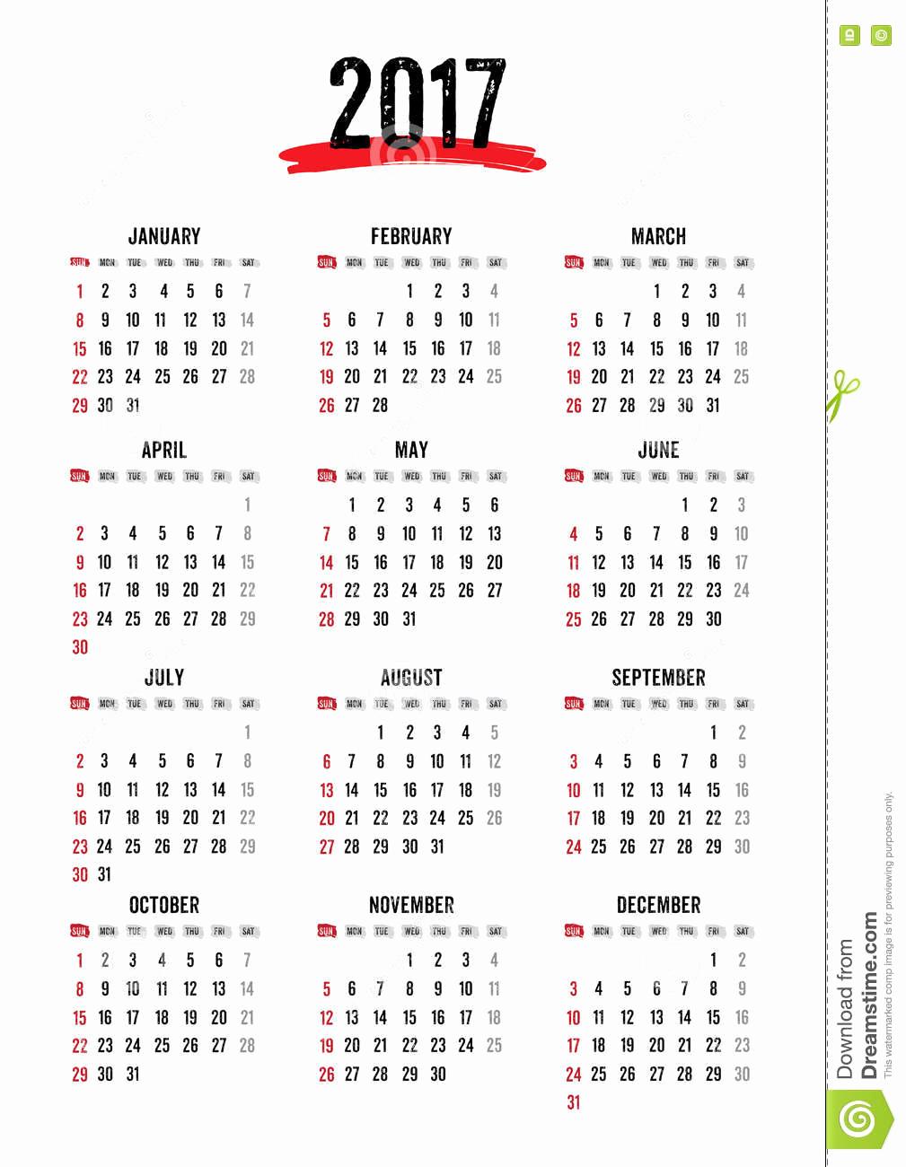 12 Month Calendar Template New Calendar 2017 12 Month In Grunge Text Style Week Start
