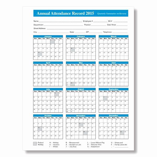 2019 attendance Calendar Free Best Of 2015 Employee attendance Calendar Free Printable