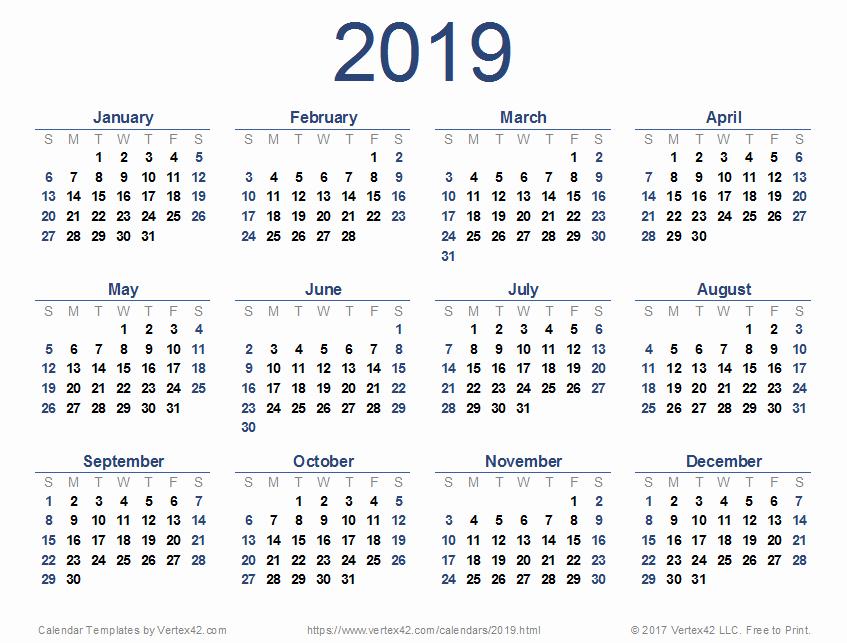 2019 attendance Calendar Free Best Of 2019 Calendar Templates and