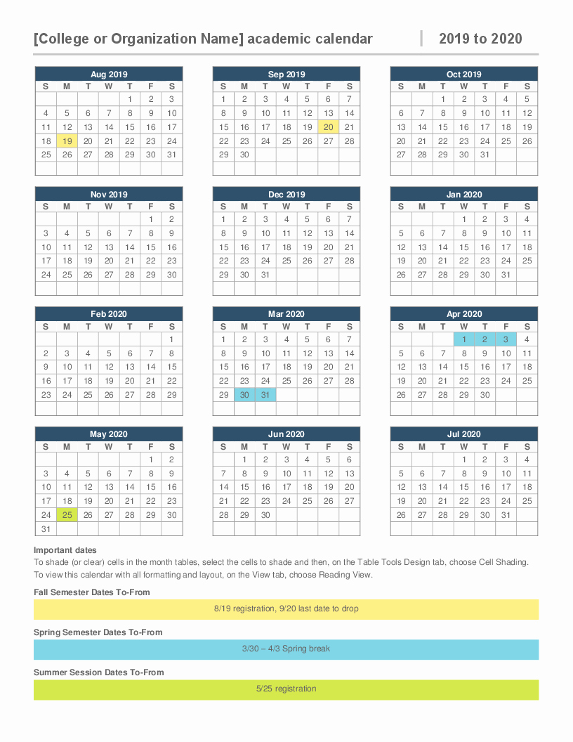 2019 attendance Calendar Free Elegant 2019 2020 Academic Calendar