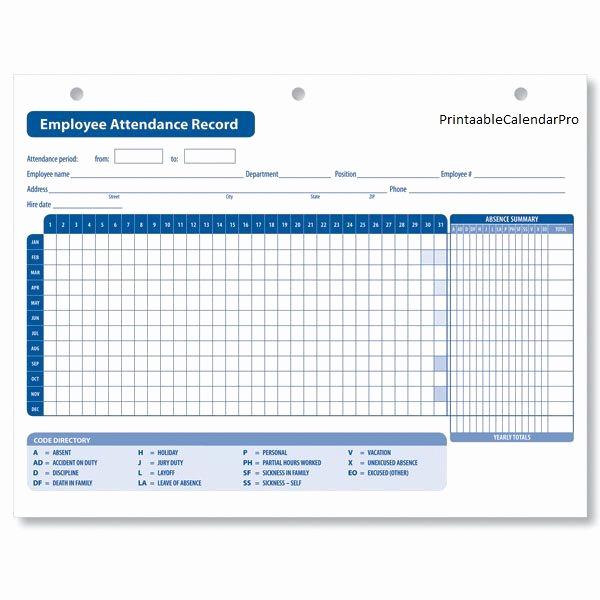 2019 attendance Calendar Free Fresh Employee attendance Calendar 2017 Employee attendance