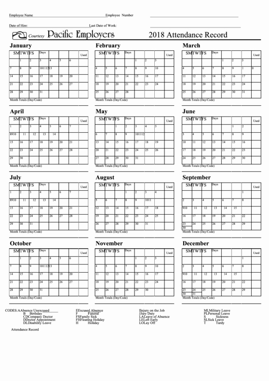 2019 attendance Calendar Free Fresh top 20 attendance Record Templates Free to In Pdf