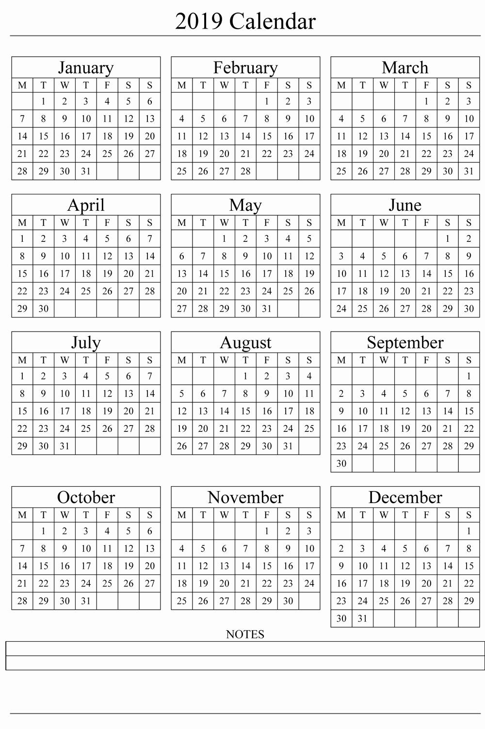 2019 attendance Calendar Free Inspirational 2019 Printable Calendar Templates [free]