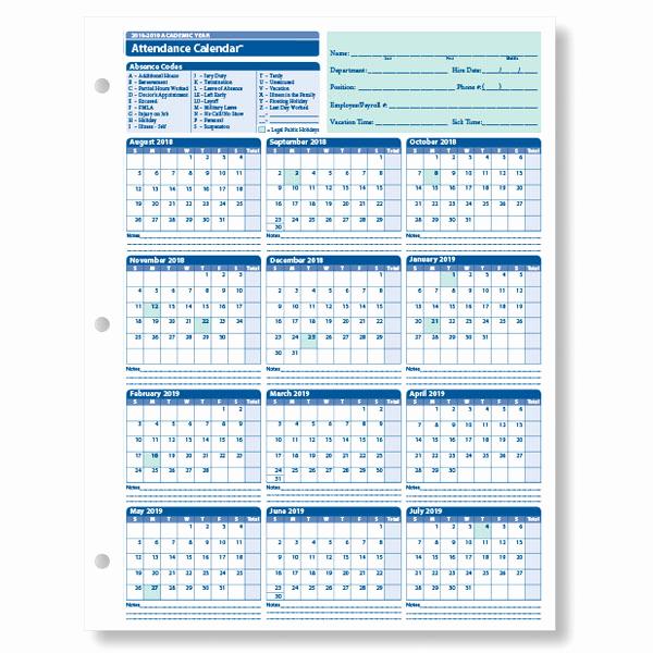 2019 attendance Calendar Free Inspirational Employee attendance Calendar for the 2018 2019 Academic Year