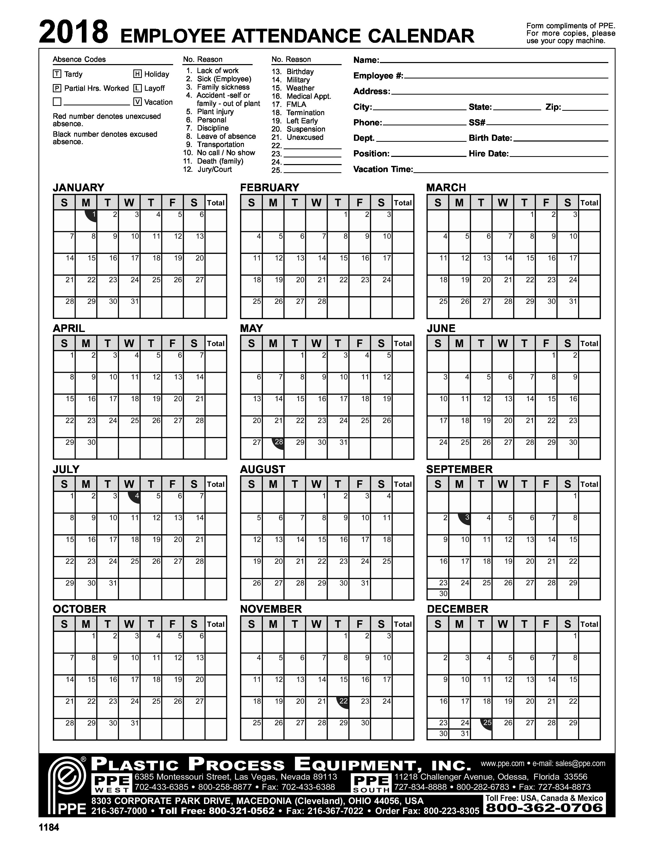 2019 attendance Calendar Free Lovely Employee attendance Calendar – Emmamcintyrephotography