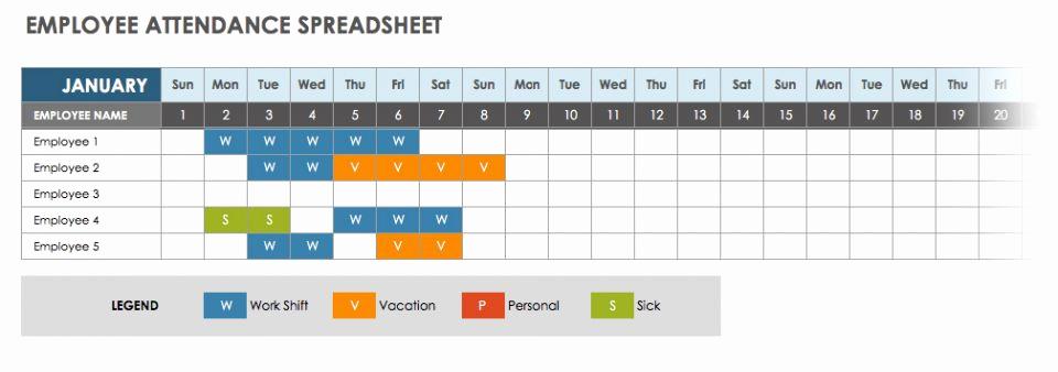 2019 attendance Calendar Free Luxury 2019 Employee attendance Calendar Sheet Excel Template
