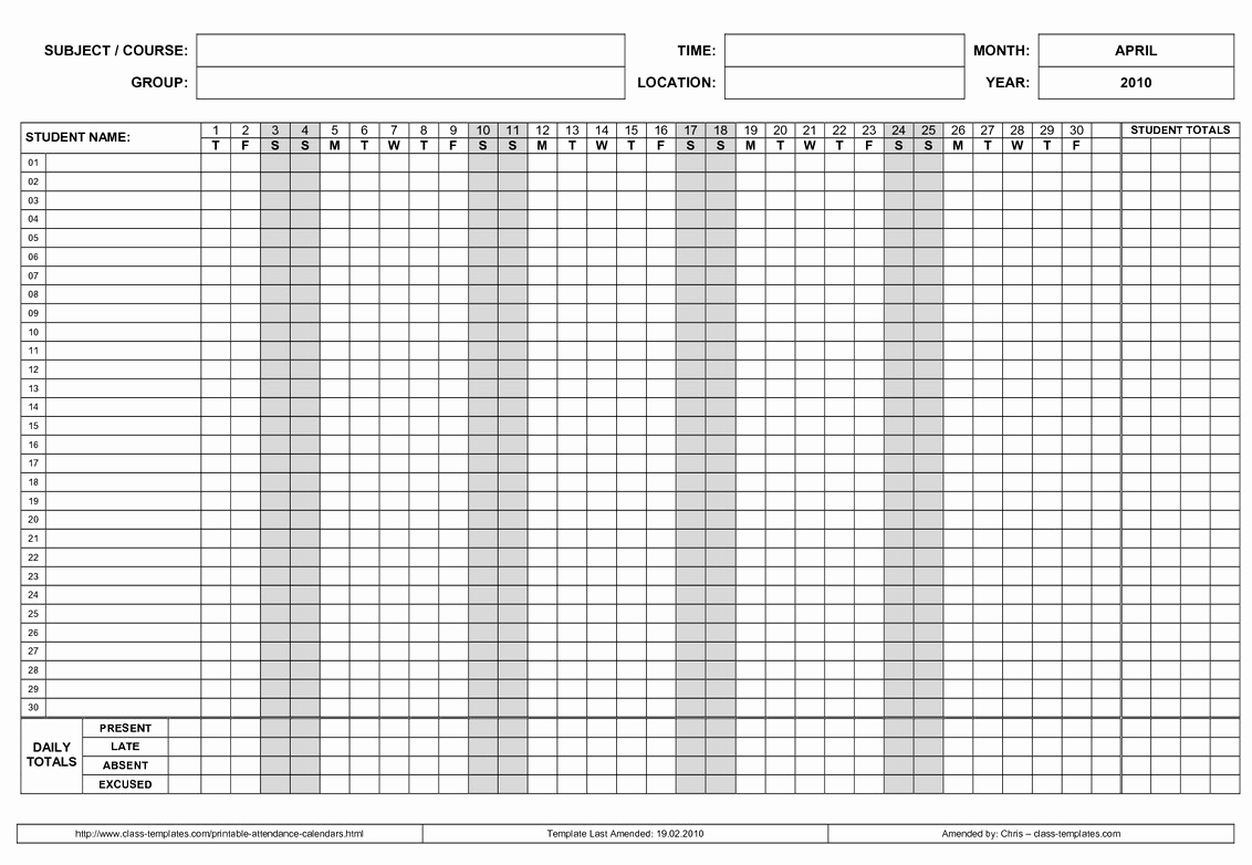 2019 attendance Calendar Free Luxury Free Employee attendance Calendar