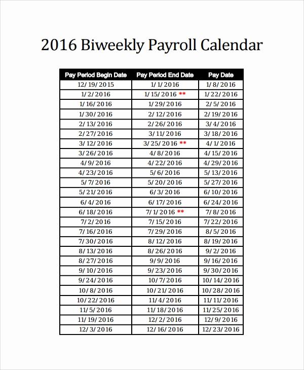 2019 Biweekly Payroll Calendar Template Fresh 10 Payroll Calendar Templates