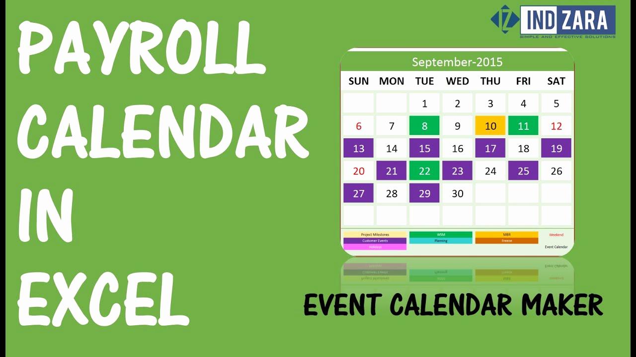 2019 Biweekly Payroll Calendar Template Fresh Payroll Calendar Using event Calendar Maker Excel Template