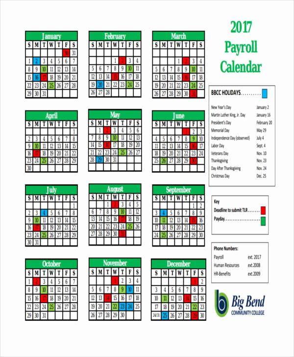2019 Biweekly Payroll Calendar Template Inspirational 7 Payroll Calendar Templates Sample Example