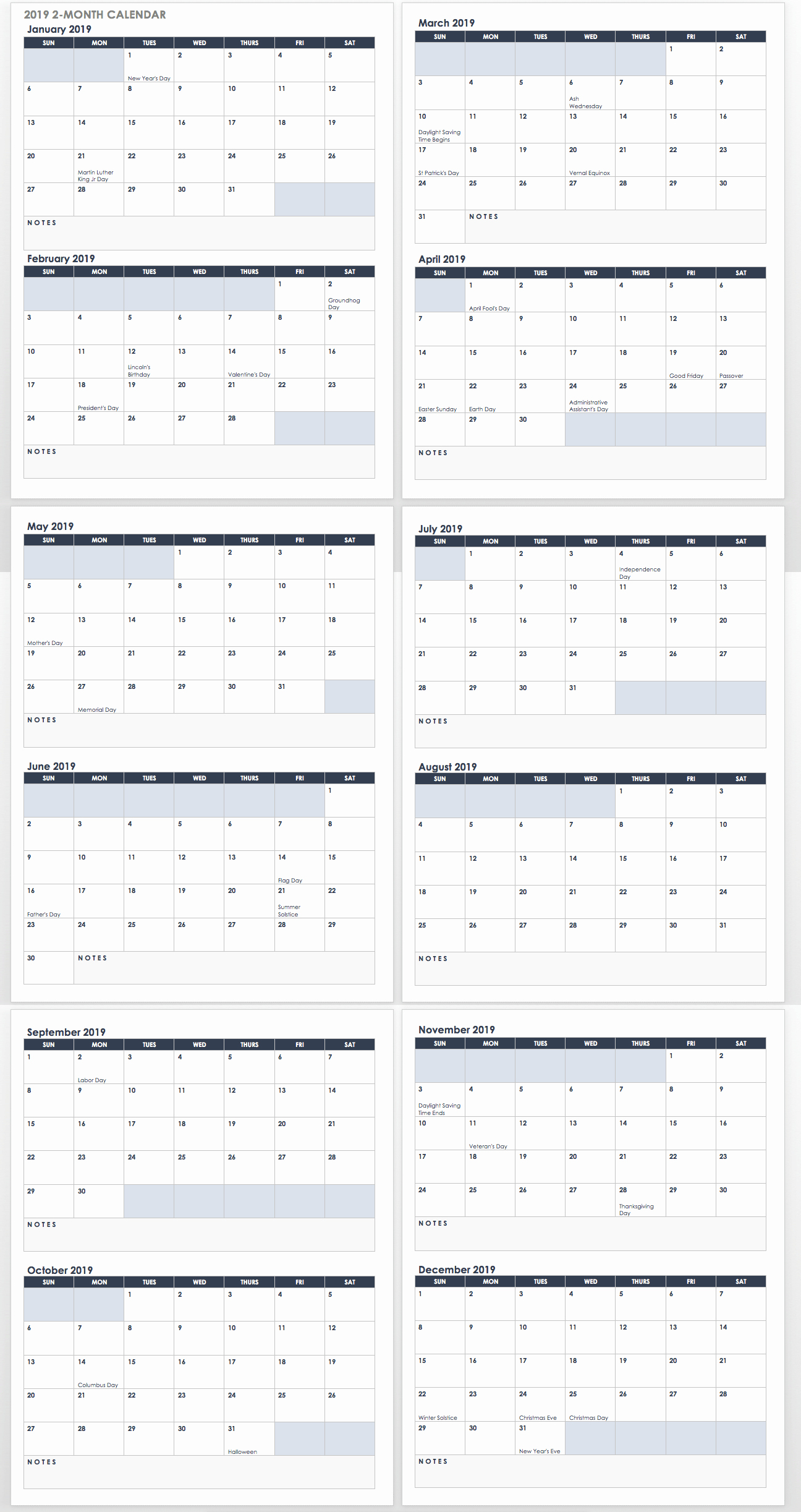 2019 Calendar Template Word Awesome 15 Free Monthly Calendar Templates