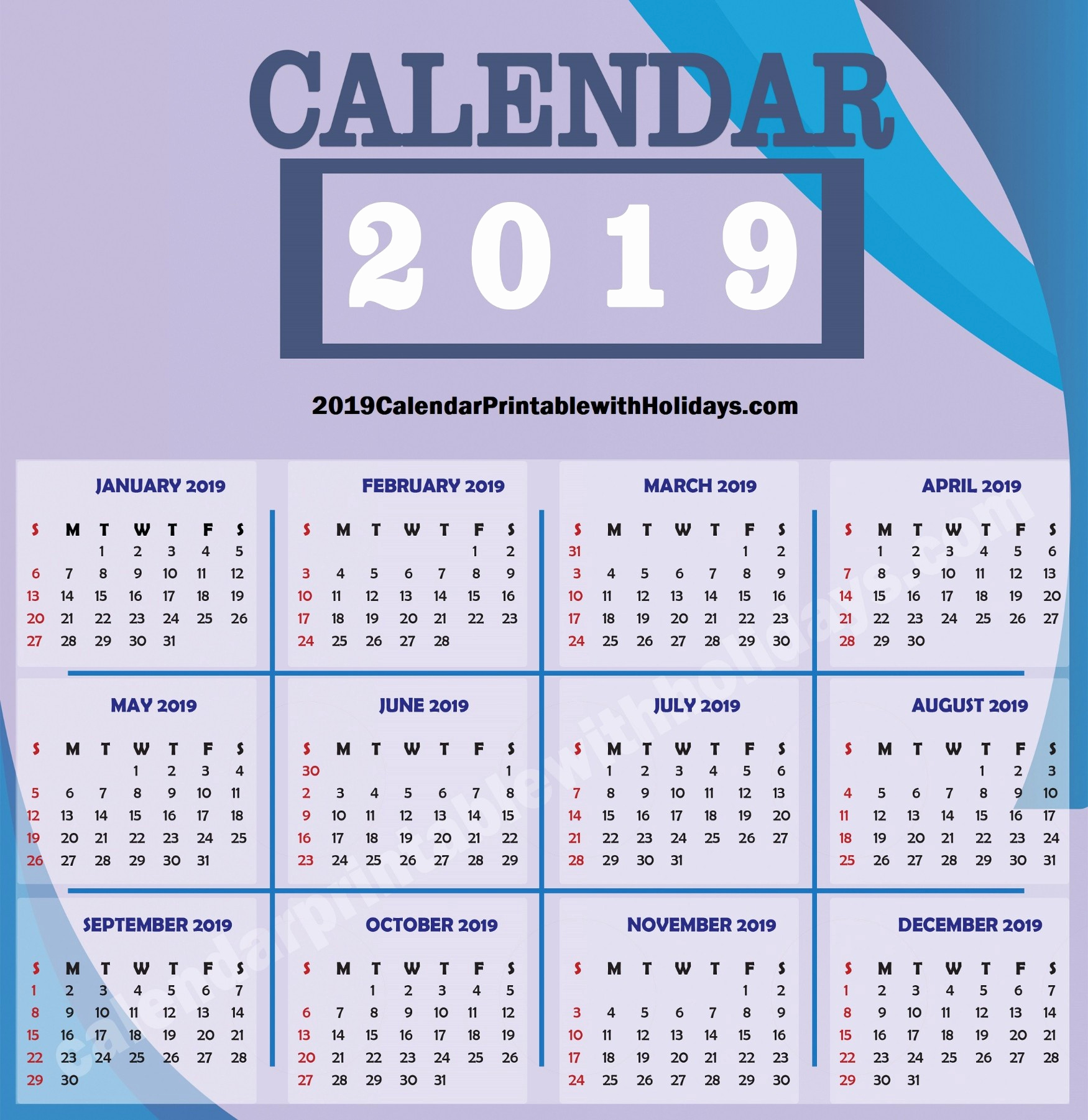 2019 Calendar Template Word Awesome 2019 Calendar Printable Template with Holidays Pdf Word