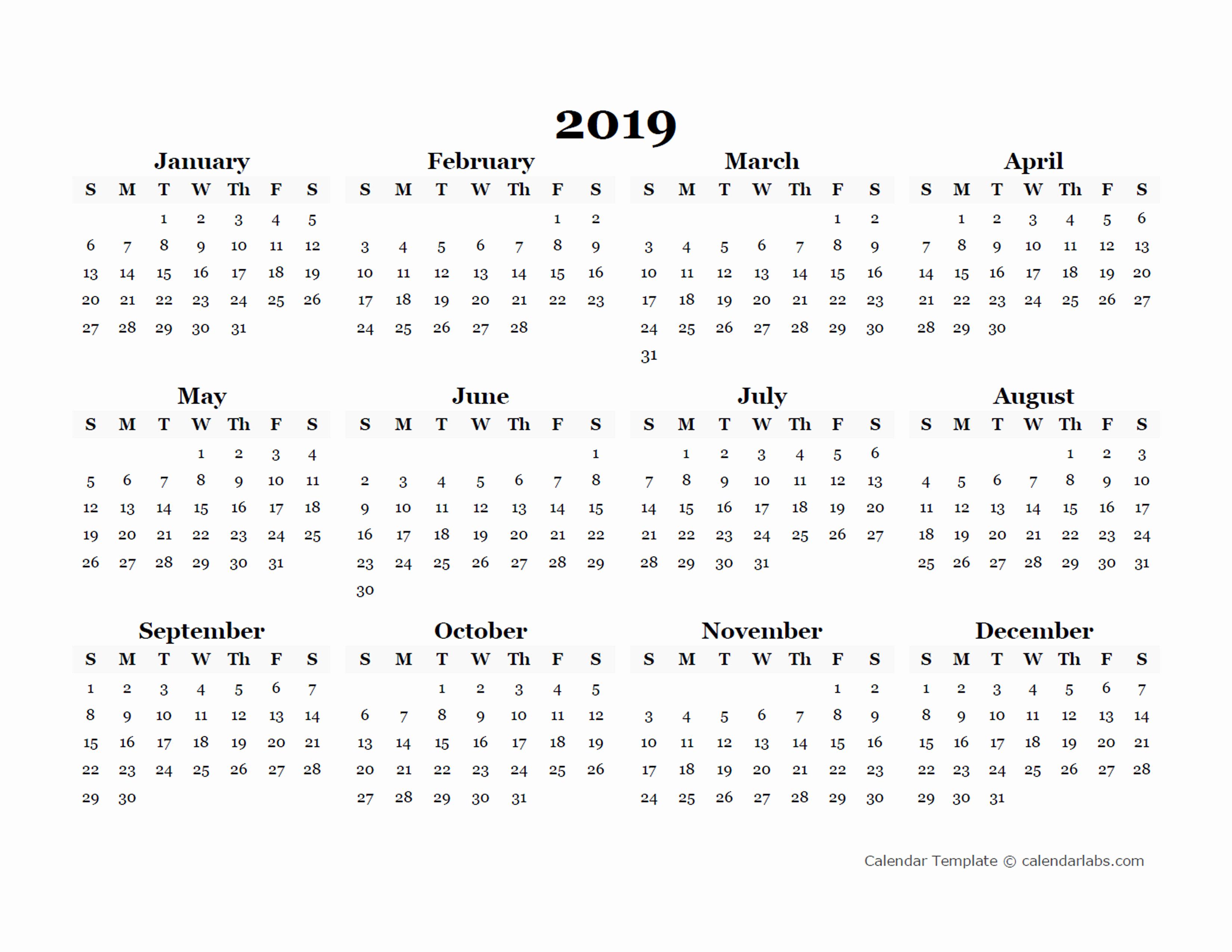 2019 Calendar Template Word Beautiful 2019 Yearly Blank Calendar Template Free Printable Templates