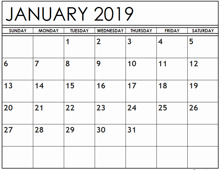2019 Calendar Template Word Beautiful January 2019 Calendar Cute Free Printable Word Excel