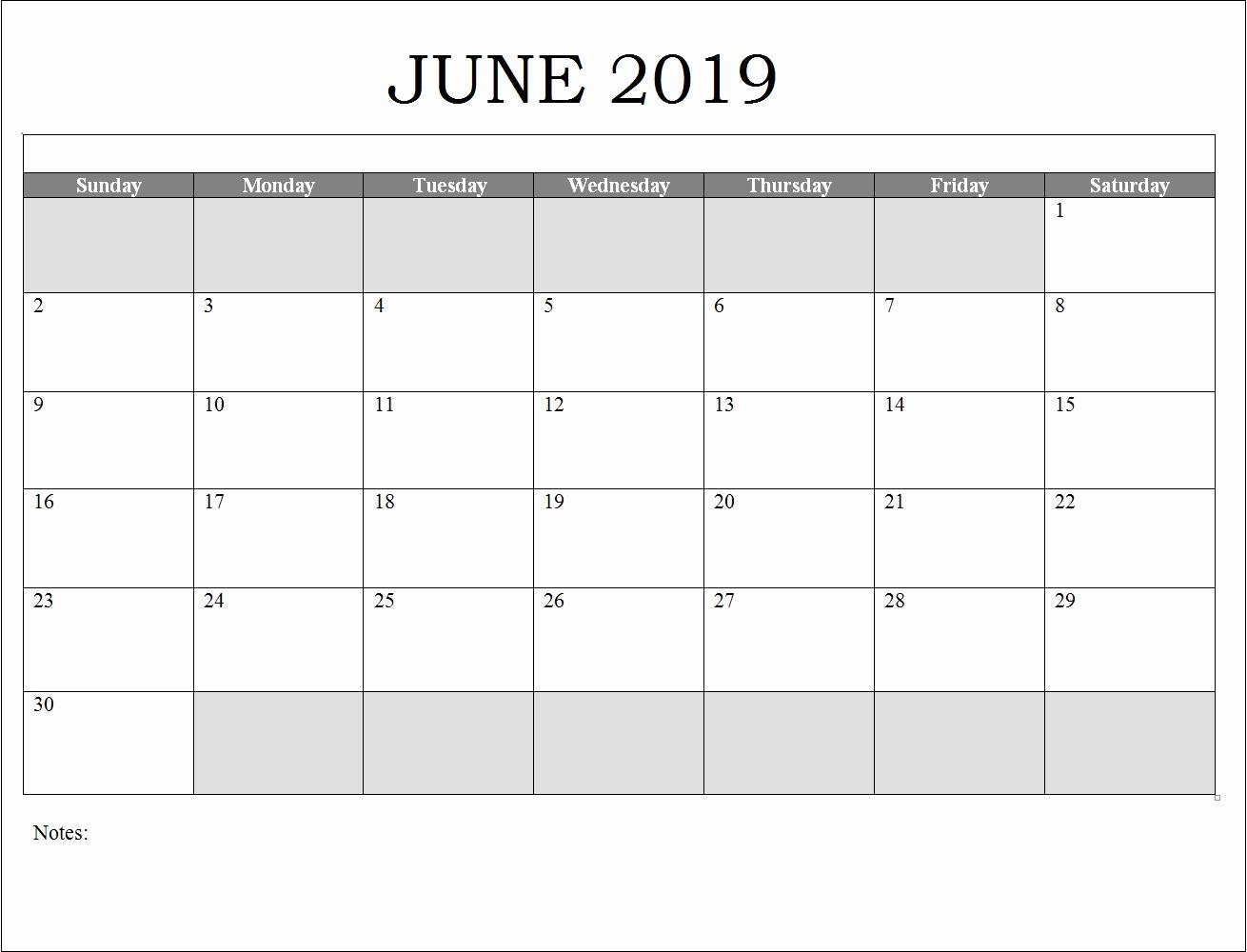 2019 Calendar Template Word Best Of June 2019 Calendar