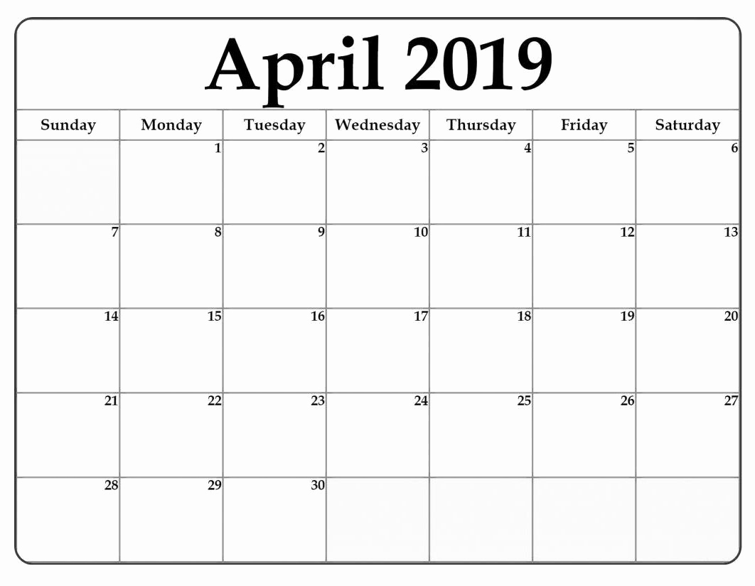 2019 Calendar Template Word Elegant April 2019 Word Calendar Template