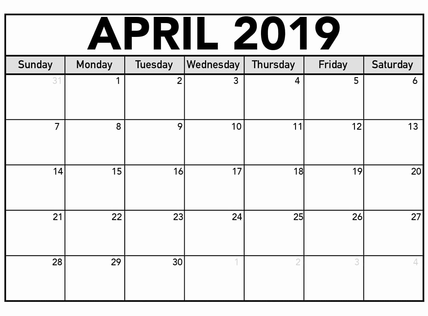 2019 Calendar Template Word Elegant Editable April 2019 Word Calendar Templates