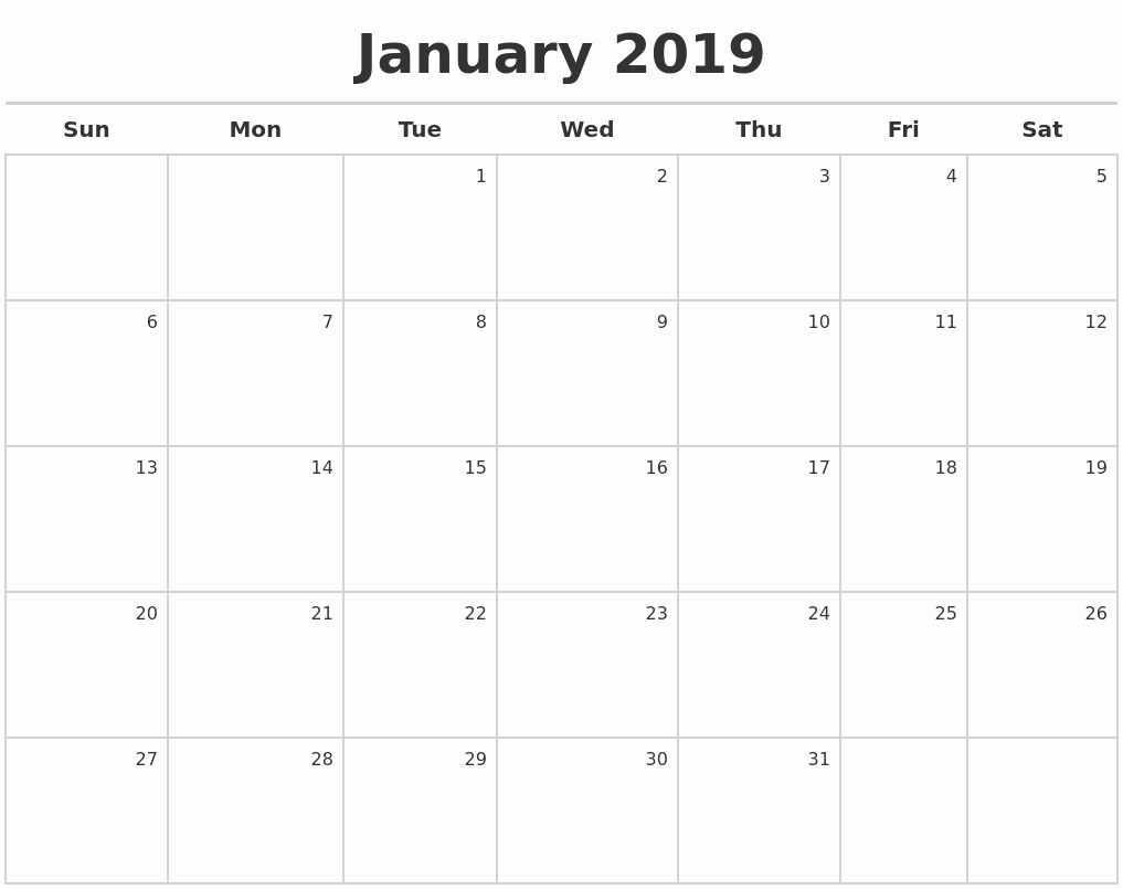 2019 Calendar Template Word Elegant January 2019 Calendar 2019 Calendar Printable with