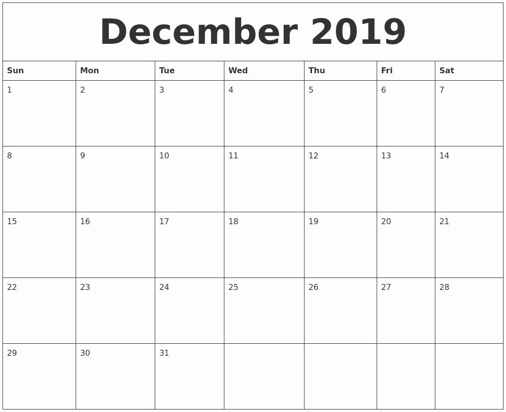 2019 Calendar Template Word Fresh December 2019 Word Calendar