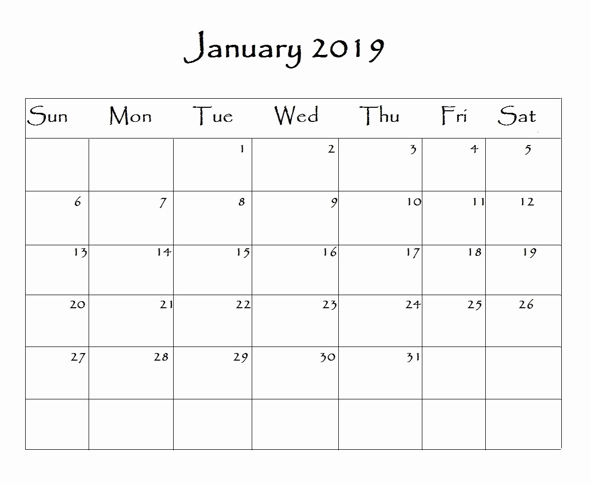 2019 Calendar Template Word Fresh January 2019 Calendar Word