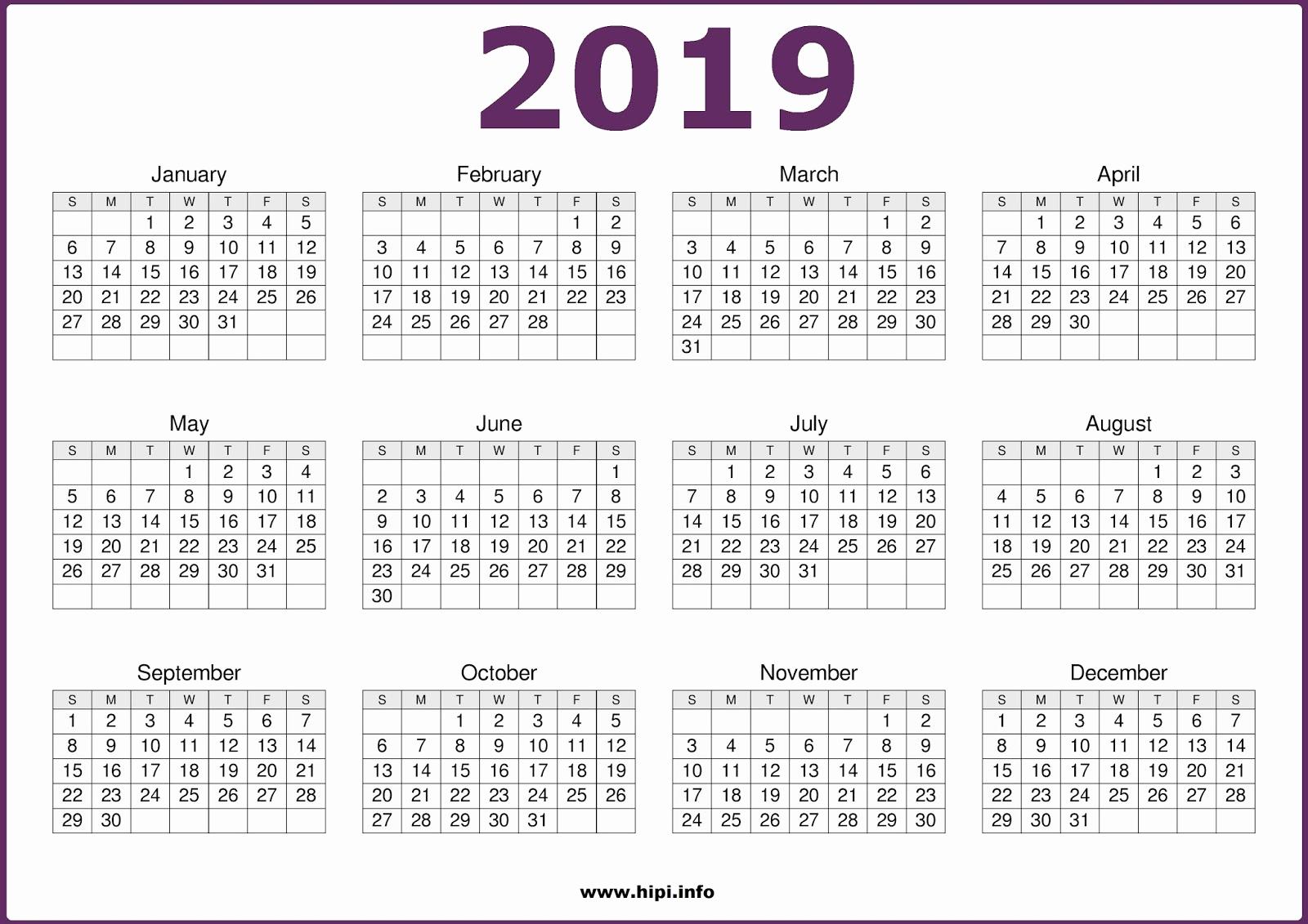 2019 Calendar Template Word Luxury Free Printable Calendar 2019 In Pdf Word Excel Template