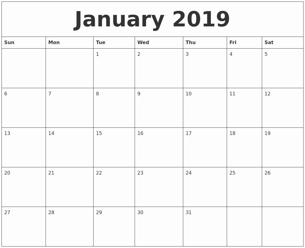 2019 Calendar Template Word Luxury January 2019 Word Calendar