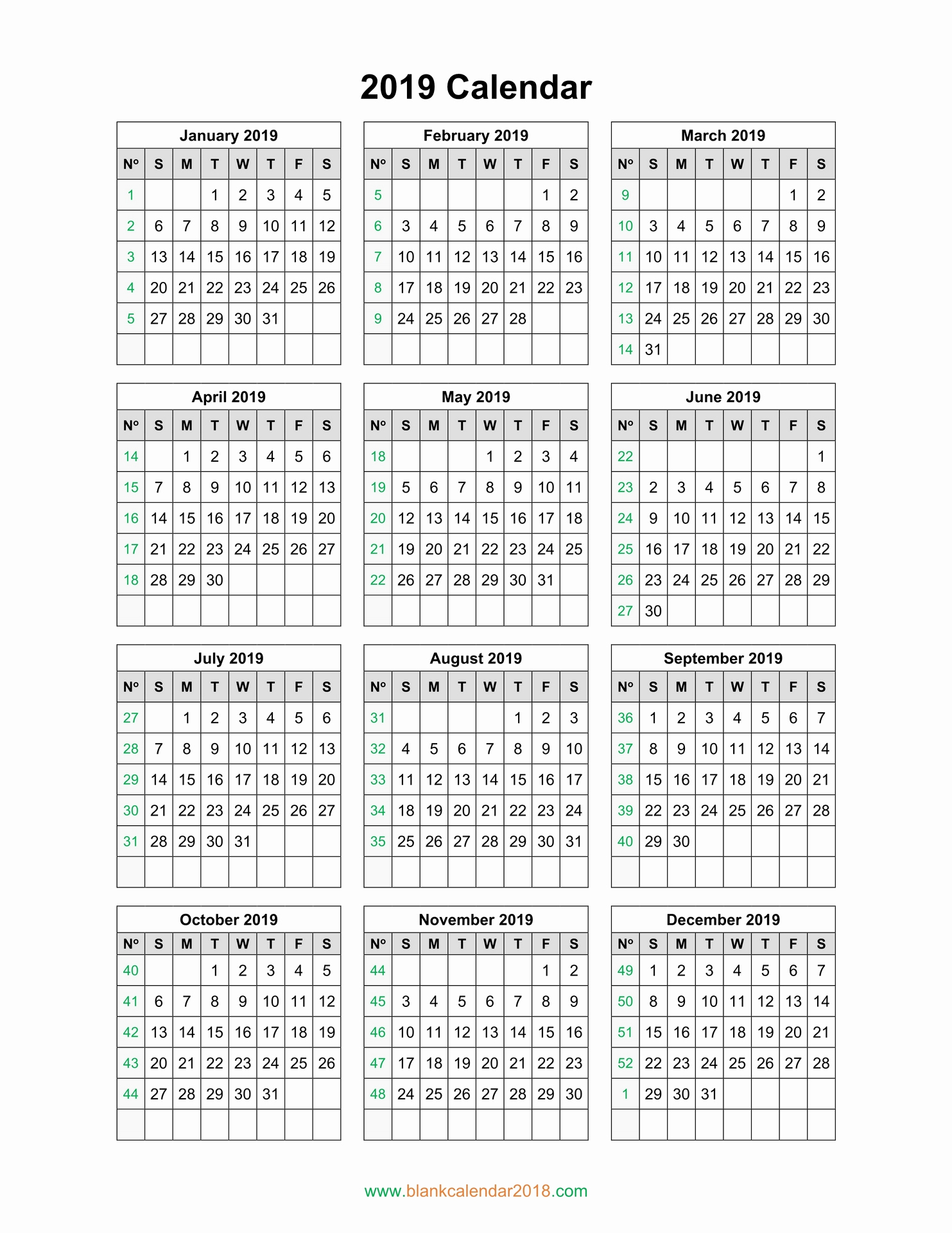 2019 Calendar Template Word New Blank Calendar 2019