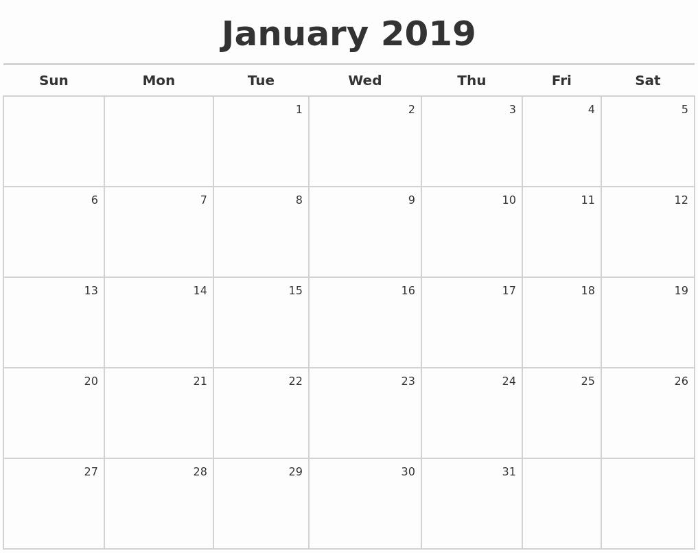 2019 Calendar Template Word New January 2019 Calendar 2019 Calendar Printable with
