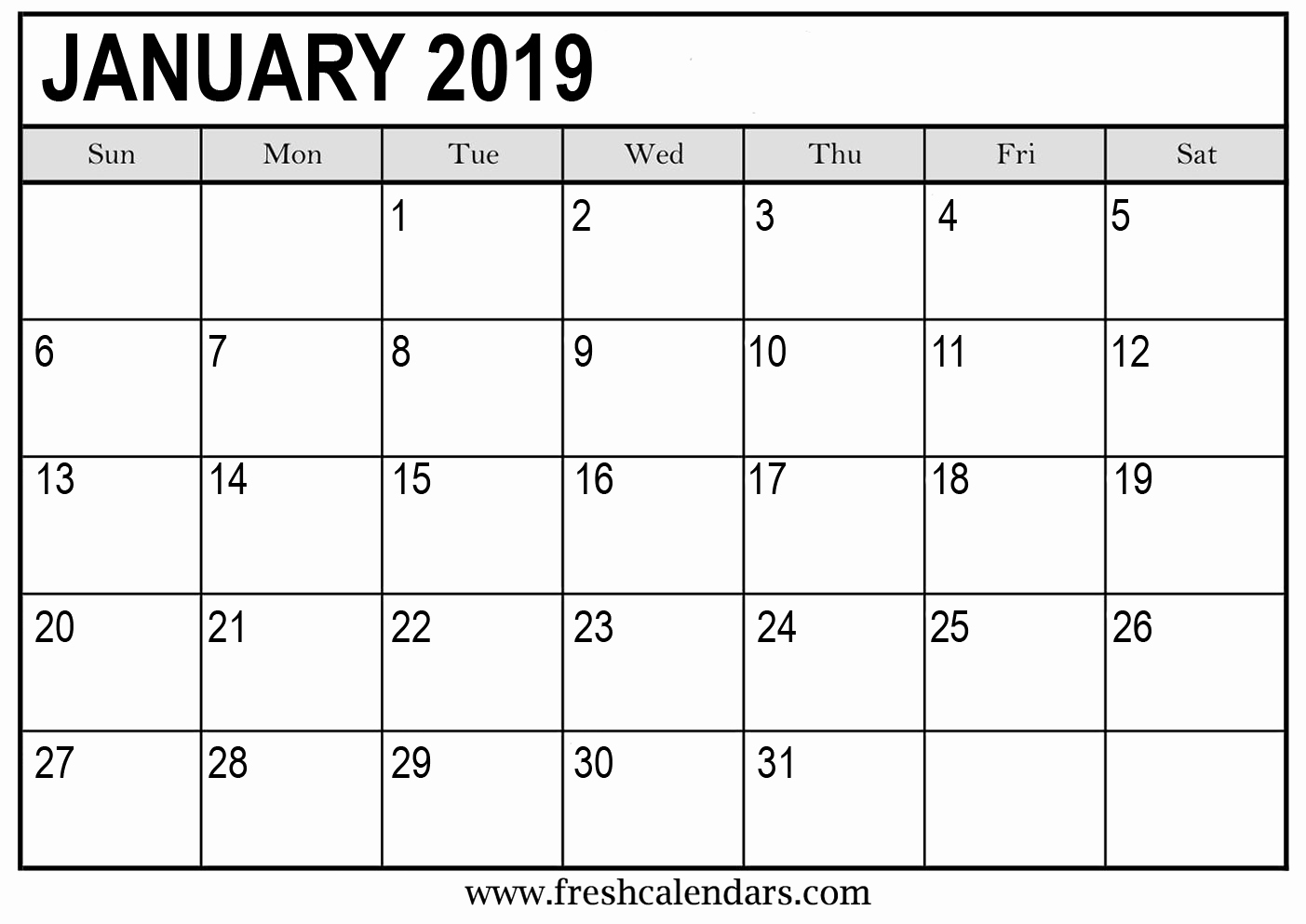 2019 Monthly Calendar Template Awesome January 2019 Calendar Printable Fresh Calendars