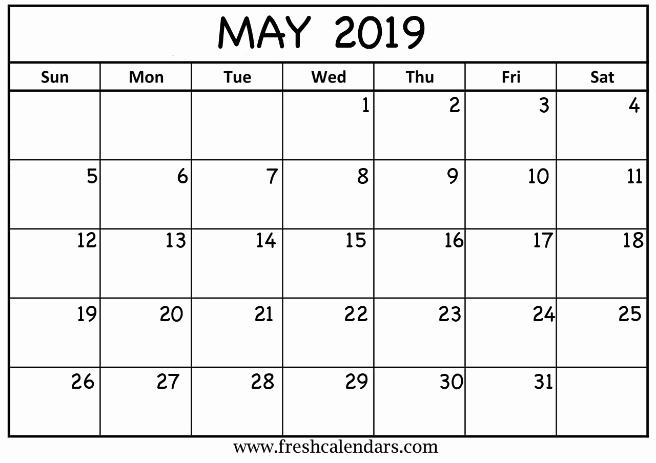 2019 Monthly Calendar Template Awesome May 2019 Calendar Printable Fresh Calendars