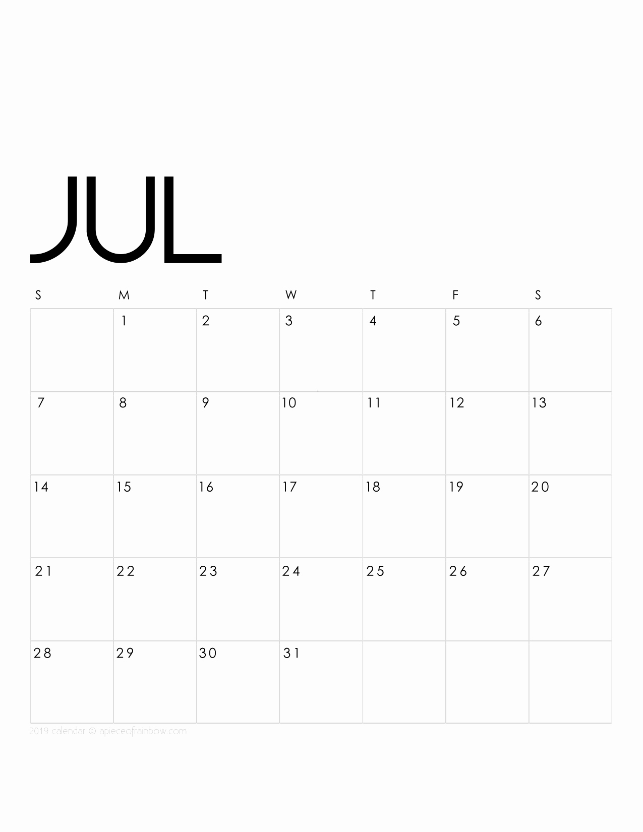 2019 Monthly Calendar Template Awesome Printable July 2019 Calendar Monthly Planner 2 Designs