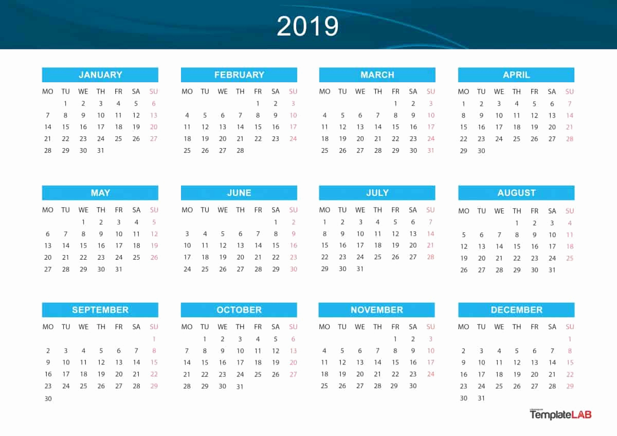 2019 Monthly Calendar Template Beautiful 2019 Printable Calendars [monthly with Holidays Yearly
