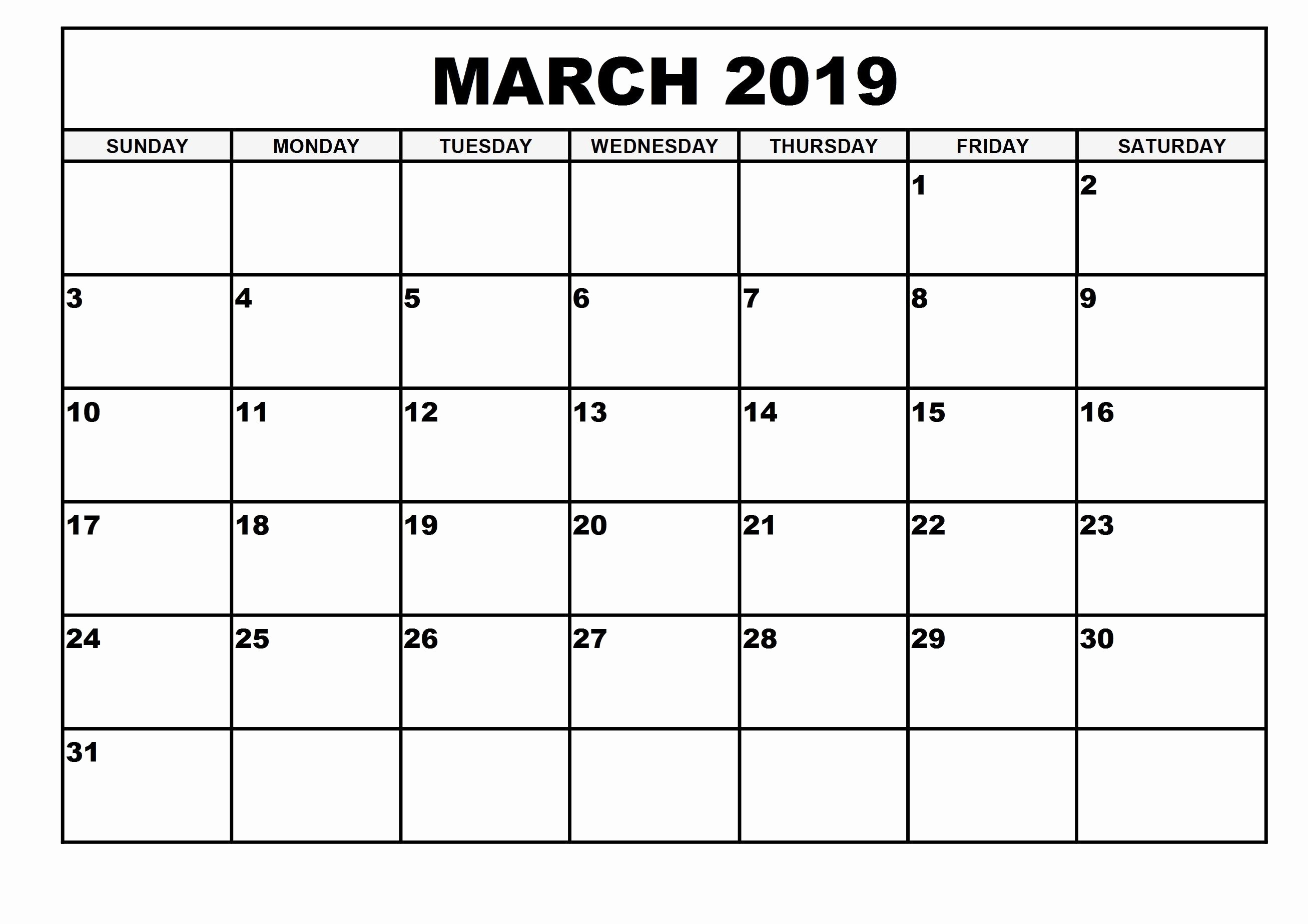 2019 Monthly Calendar Template Best Of 2019 Monthly Printable Calendar March 2019 Calendar March